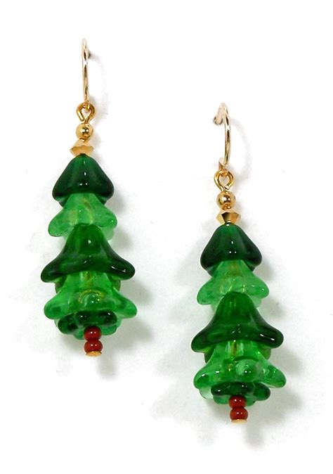 hypoallergenic christmas tree beaded tree earrings