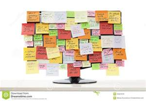 Computer Desktop Post It Notes Monitor With Post It Notes Stock Photo Image 43427876