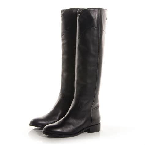 chanel boots chanel leather ascot boots black 39 68242