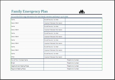 family emergency plan template 9 family emergency plan template sletemplatess