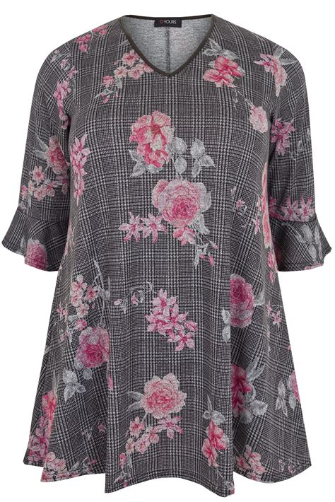 Can You Track A Visa Gift Card - black pink floral checked print longline swing top with flute sleeves plus size 16