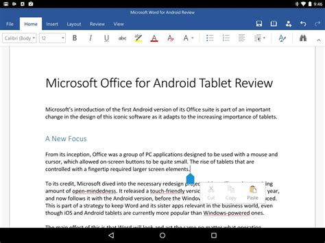 ms office for android microsoft office for android tablet review