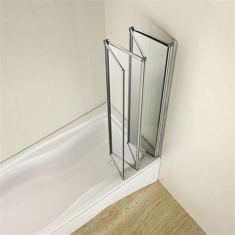 glass shower screens for baths aica 1000x1400mm 4 fold folding bath shower screen 4mm toughen glass ebay