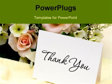 powerpoint thank you card template a bouquet of flowers with a thank you card thank you card