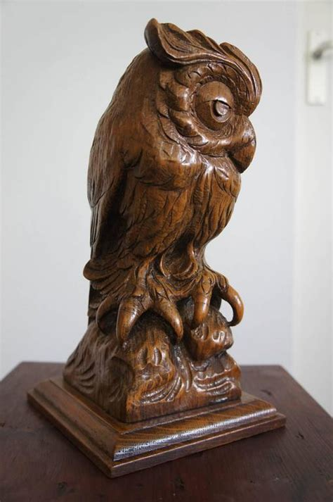Owl Furniture by Early 20th Century Carved Oak Owl And Symbol Of