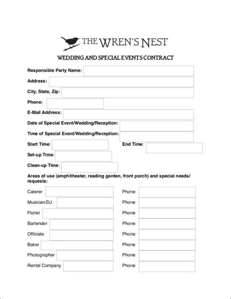 10 Wedding Contract Sles Templates Sle Templates Special Event Contract Template