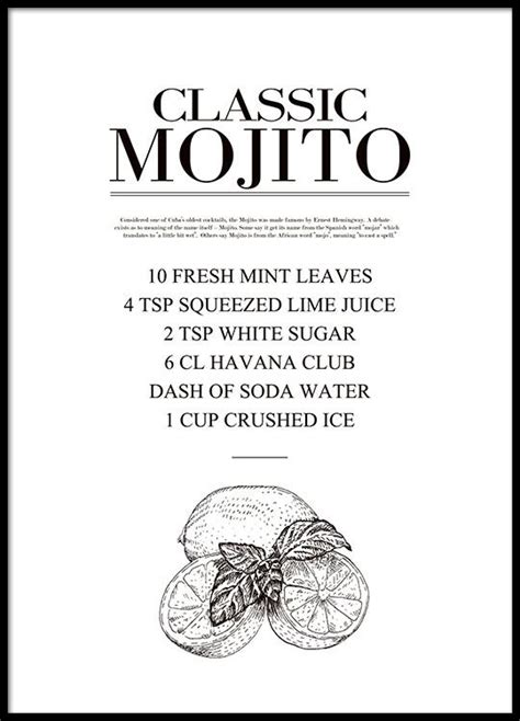 cocktail recipes poster poster mojito drink recipe print with recipe black and