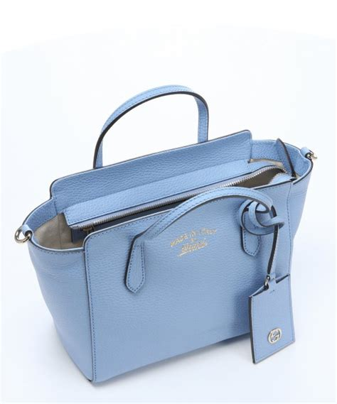 Gucci Ns Leather Blue lyst gucci light blue leather mini swing top handle bag in blue