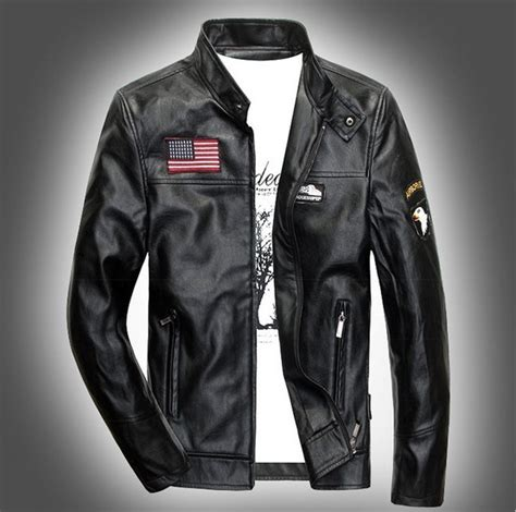 Jaket Black Brown Leather Style New Sk 57 us army style autumn winter pilot leather bomber