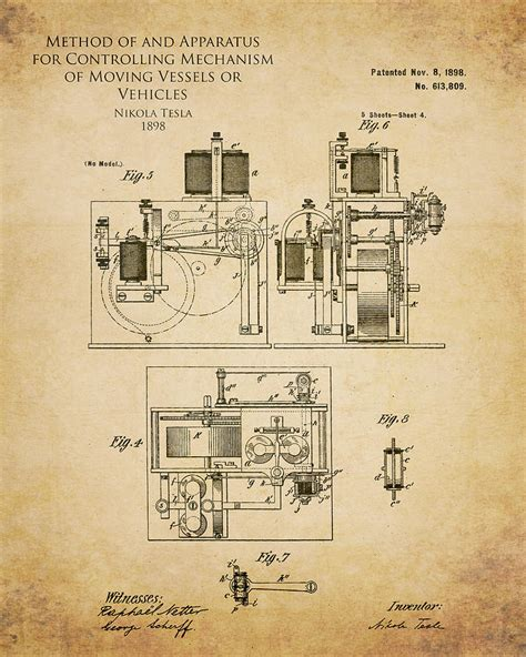 Tesla Free Patent Inventions Showcased In Stylish Vintage Blueprints