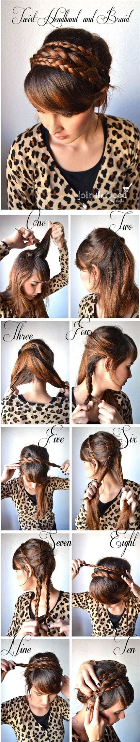 simple step by step winter hairstyle tutorials for diy twist headband and braid pictures photos and images