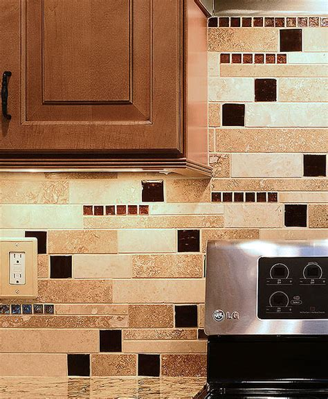 kitchen backsplash mosaic tile brown glass travertine mix backsplash tile for traditional kitchen