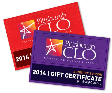 Pittsburgh Restaurant Gift Cards - pittsburgh clo musical theater gift certificates pittsburgh clo