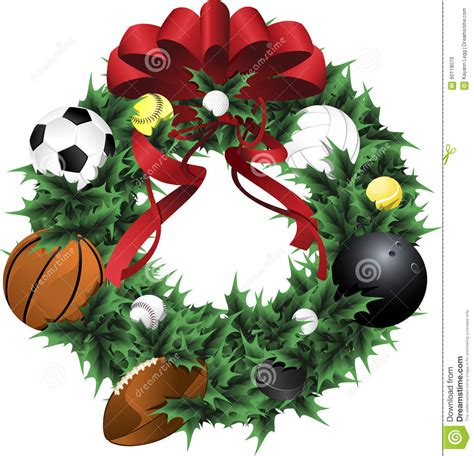 sports holiday wreath stock vector image 60118070