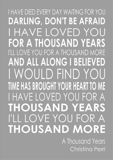 In A Thousand Years a thousand years perri word wall