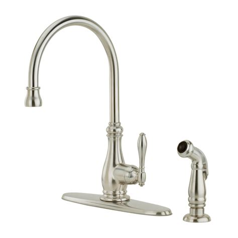 shop pfister alina stainless steel 1 handle high arc kitchen faucet with side spray at lowes com