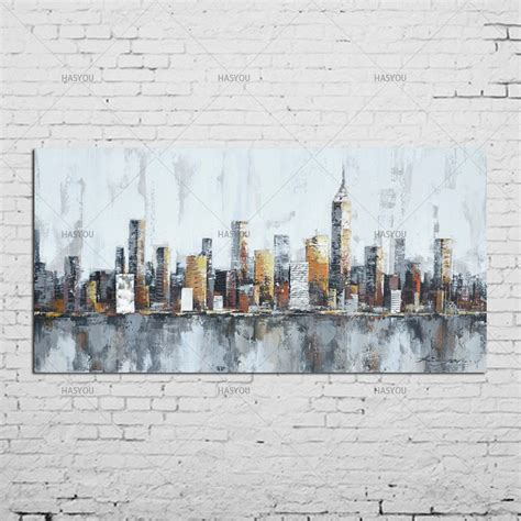 york skyline cityscape architecture abstract wall art oil painting  canvas print home room