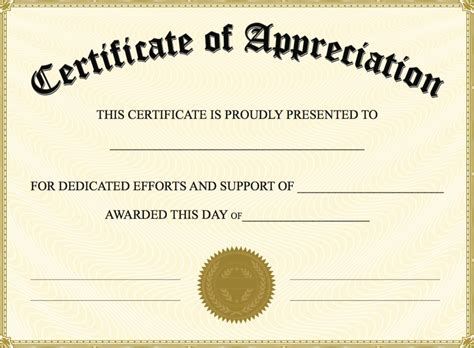 template of certificate certificate of appreciation templates pdf word get
