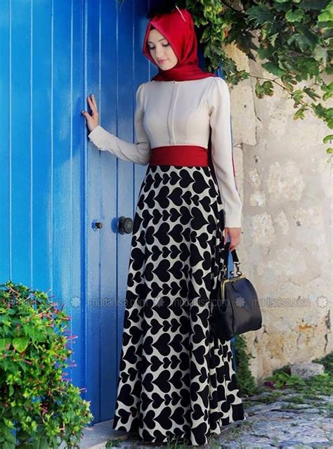 black  white  red dress   red hijab