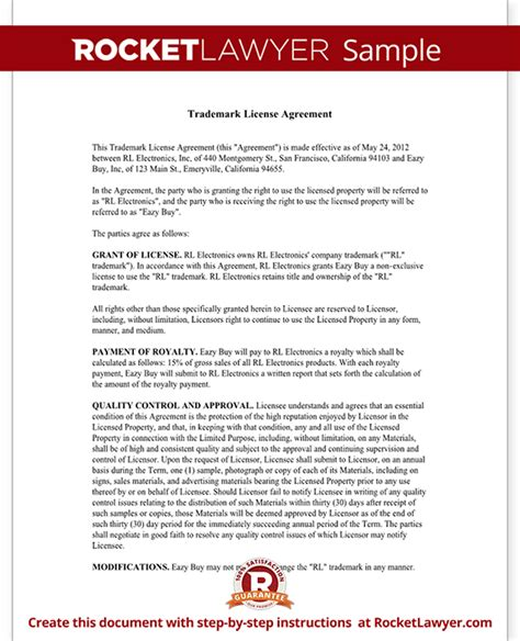 Trademark License Agreement Form Create A Template With Sle Trademark License Agreement Template