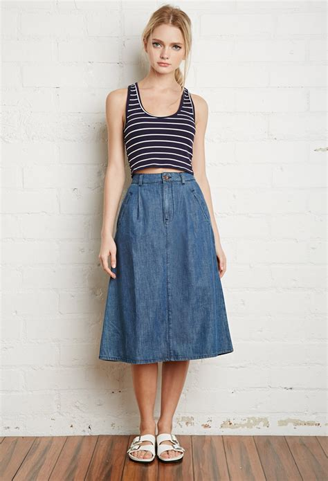 denim midi skirt forever 21 on sale spottedmod