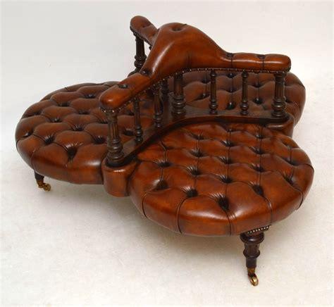 conversation sofa leather antique victorian leather walnut conversation sofa