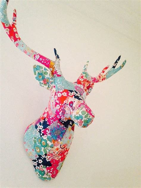 Patchwork Stag - liberty print patchwork decoupage wall mounted stags by