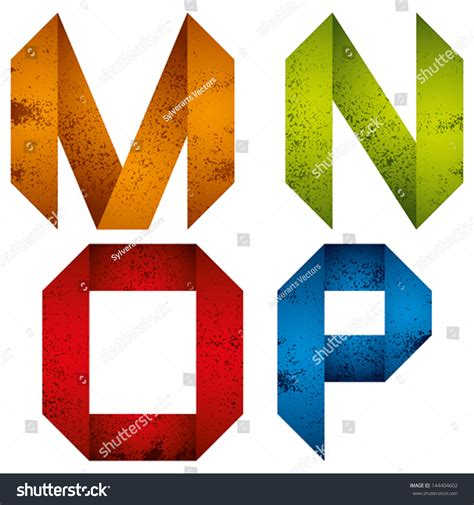 m origami geometric origami style font grunge stock vector