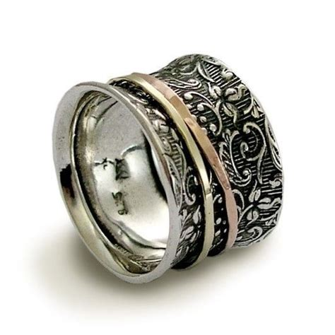 meditation ring sterling silver with gold and