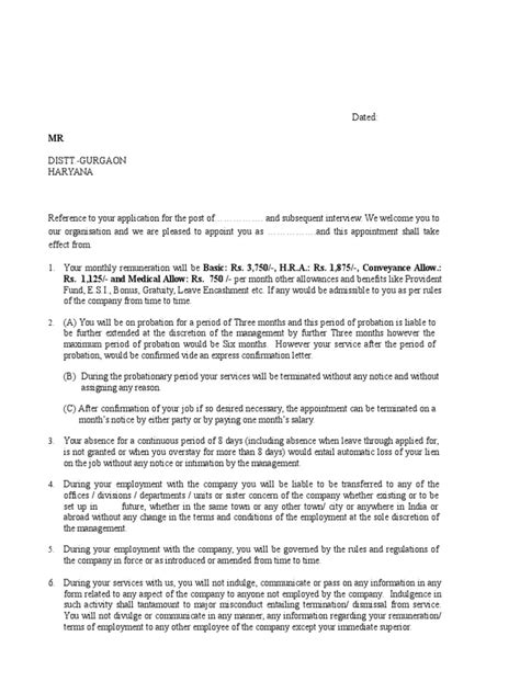 Termination Of Employment Letter Sle