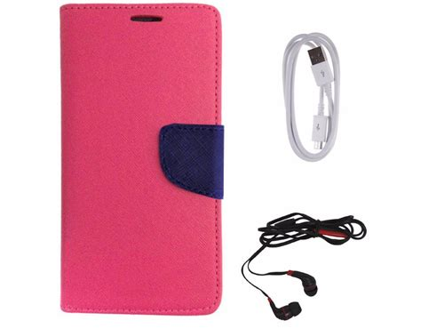 Headset Lenovo A6000 Avzax Diary Look Flip Wallet Cover For Lenovo A6000 Pink Data Cable In Ear Headphone