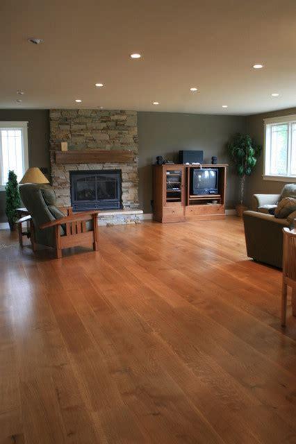 wide plank white oak floor modern family room denver