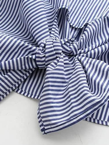 Blue Stripe Knot Top Sml 2 blue embroidery vertical striped knot detail blouse shein sheinside