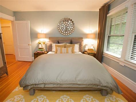 Yellow Bedroom Rug by Transitional Blue Bedroom With Mirror Wall Decoration Hgtv