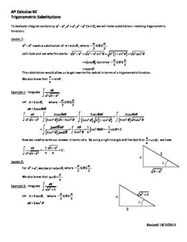 trigonometric substitution worksheet ap calculus bc by