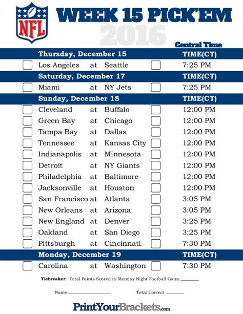printable nfl tv schedule 2015 nfl schedule week 15 printable calendar template 2016