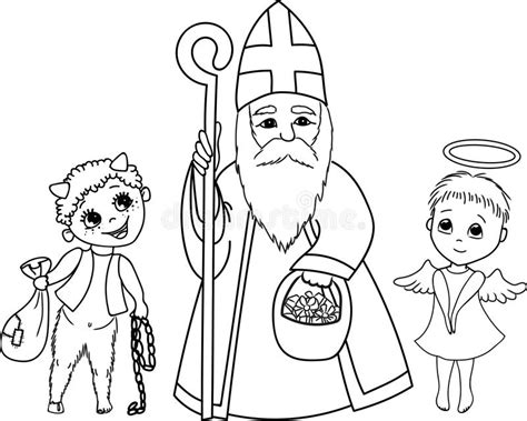 st nicholas angel  devil stock vector illustration