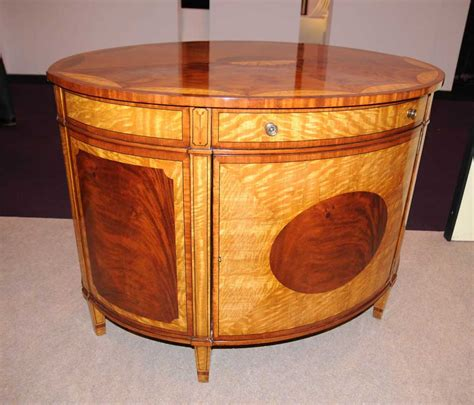 Semi Circle Cabinet by Satinwood Regency Cabinet Half Marqeutry Inlay Sideboard