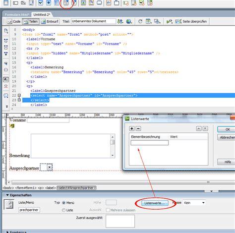 tutorial javascript dreamweaver html formulare erstellen und mit css javascript