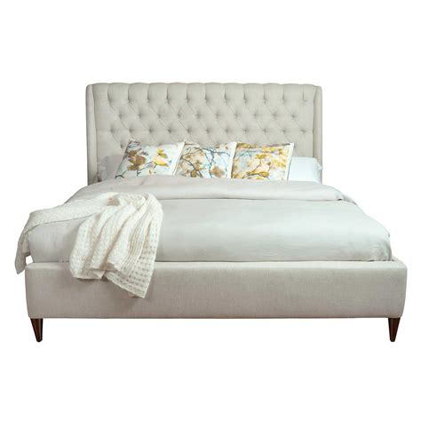 queen tufted bed kara hollywood regency button tufted fawn linen bed