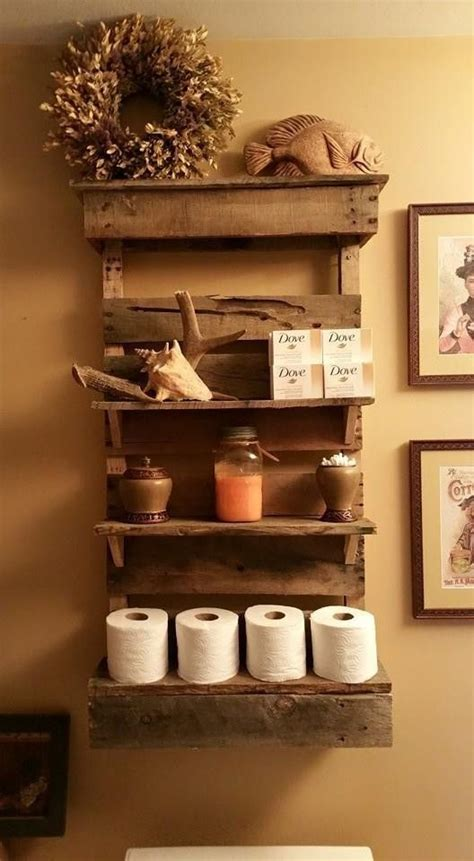 25 best ideas about pallet shelf bathroom on