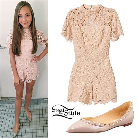 maddie ziegler lace romper studded flats steal  style