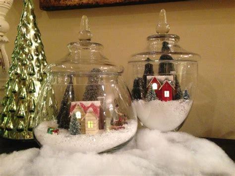 winter wonderland snow globe in apothecary jars christmas