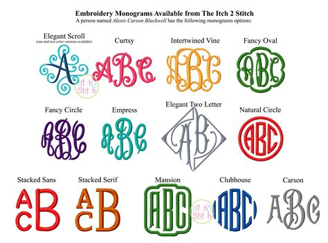 monogram ideas monogram options available from the itch 2 stitch http