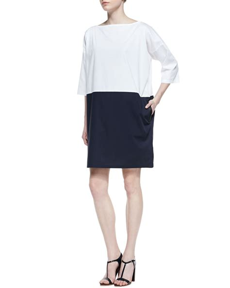 Dress Boxy Line Shirt 1 eileen fisher two tone papercloth boxy dress in black lyst
