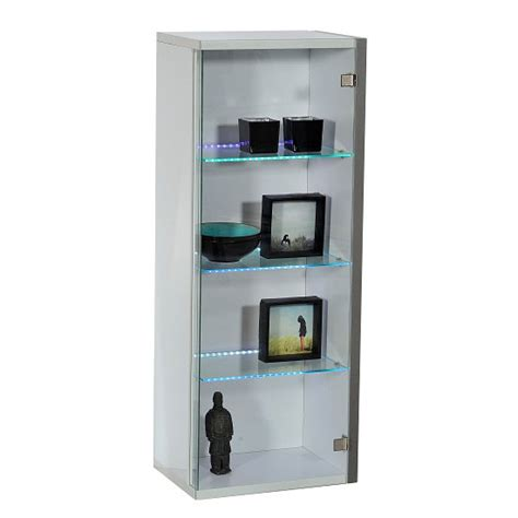 Crossana Wall Mount Glass Door Display Cabinet In White Wall Display Cabinets With Glass Doors