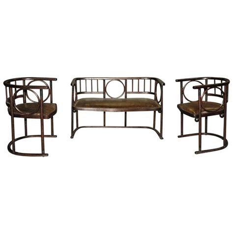 Hoffmans Furniture 3 austrian settee and chairs in leather by joseph hoffman at 1stdibs