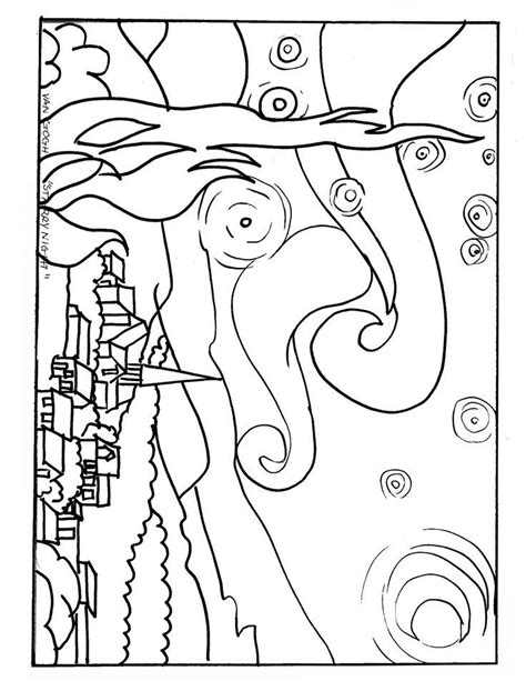 starry night coloring page az coloring pages