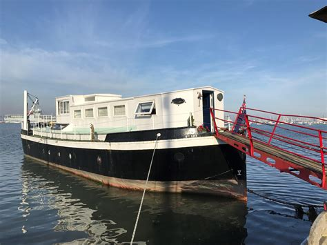 motor boat with living accommodation 1946 houseboat ex mod admiralty ammunition barge a motor