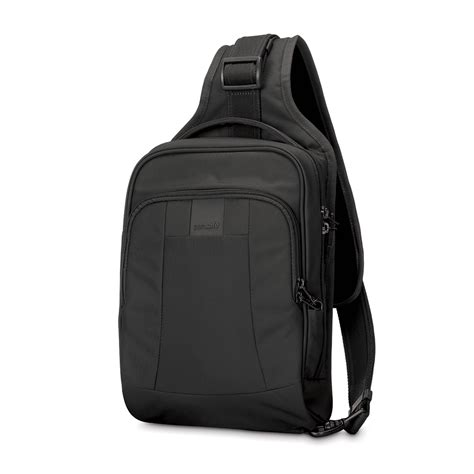 anti theft sling backpack metrosafe ls150 in black by pacsafe